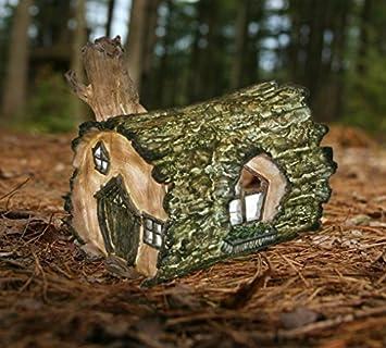Garden Mile® Wooden Log Fairy House Solar Light Up At Dusk Fairy Garden  Lighting Decorative