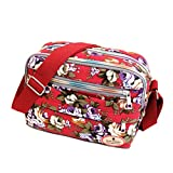ZOONAI Women Canvas Crossbody Messenger Shoulder Sling Bag Floral Handbag Purse (Red)