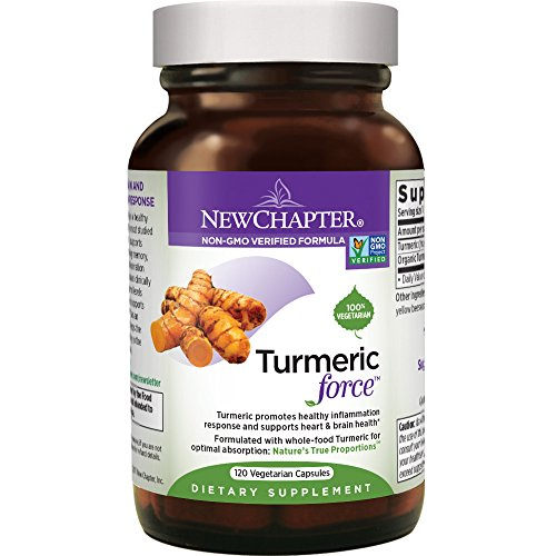 New Chapter Turmeric Curcumin Supplement ONE Daily - Turmeric Force for Inflammation Support + Supercritical Organic Turmeric + NO Black Pepper Needed + Non-GMO Ingredients - 120 Vegetarian Capsule (Best Over The Counter Dog Allergy Medicine)