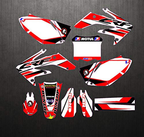 (JL'S HOME Team Decals Graphics Backgrounds Stickers For Honda CRF250R CRF250 CRF 250R 250 Graphics Kit Full Decals Stickers 2004-2009,Custom Number Plate (Number/Letter/Pattern/Logo))
