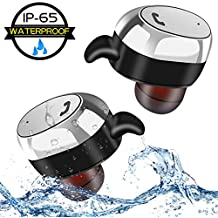 Waterproof Wireless Earbuds, Metal Mini Bluetooth Earbuds Headphones Earpieces Earphones In-Ear Built-in Mic Stereo Sound Noise Cancelling Sweatproof IPX5 for iPhone ipad Samsung Android Phones sports