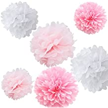 Fonder Mols 9pcs Mixed 8'' 10'' 14'' Tissue Paper Pom Poms Flower Wedding Party Baby Girl Room Nursery Decoration - White, Pink & Light Pink