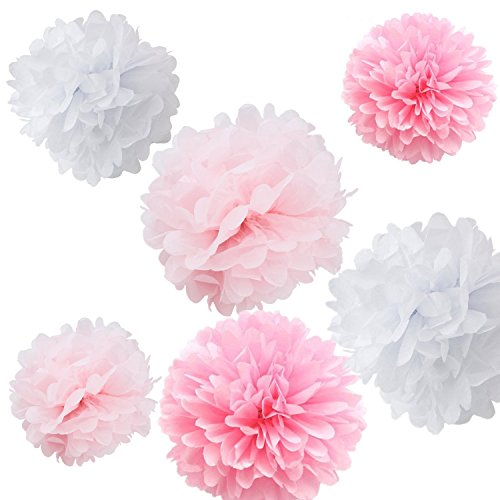 - Fonder Mols 9pcs Mixed 8'' 10'' 14'' Tissue Paper Pom Poms Flower Wedding Party Baby Girl Room Nursery Decoration - White, Pink & Light Pink