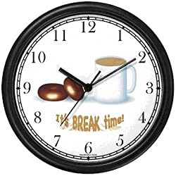 Coffee & Doughnuts or Donuts - It's Break Time - JP Wall Clock by WatchBuddy Timepieces (Black Frame)