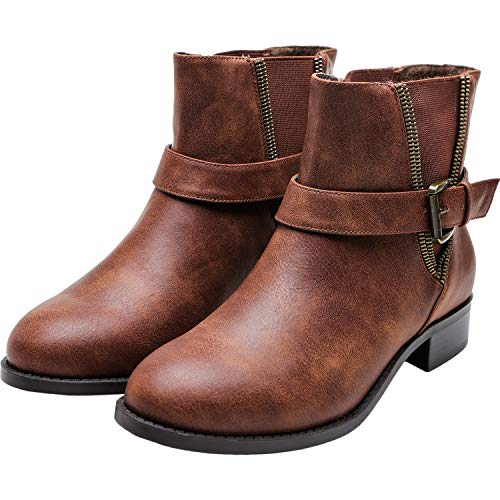 Women's Wide Width Ankle Boots, Chunky Block Low Heel Slip On Side Zipper Buckle Elastic Cozy Comfortable Work Shoes.(180703 Brown 8WW)]()