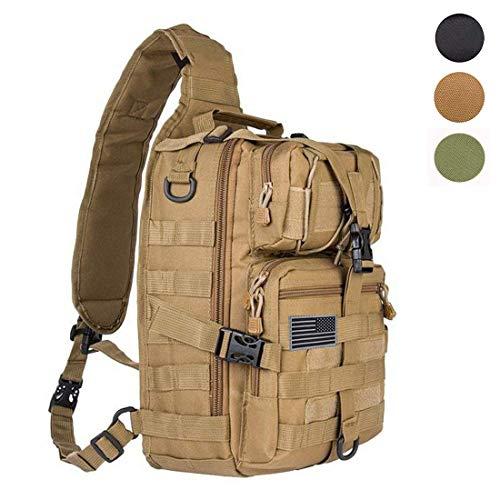hopopower Tactical Sling Bag Pack Military Rover Shoulder Sling Backpack Chest Pack Rucksack Molle Assault Range Bag Everyday Carry Bag