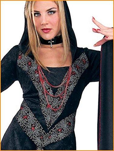 (Home Web Princess Black Hooded Velvet Dress Women Size)