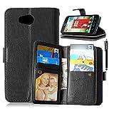 LG Optimus L70 Case, LG Optimus L70 Wallet, TabPow 9 Card Holder Wallet Case PU Leather Flip Cover For LG Optimus L70 (Black)