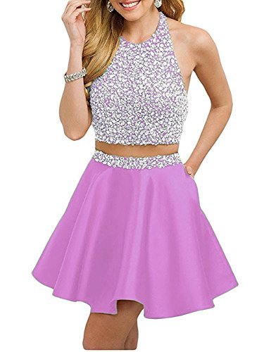 Neck Bodice Prom Piece BD263 Short O BessDress Two Sequin Backless Dresses Lilac Homecoming w5qtxOF