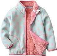 Baby Girls Polar Fleece Full Zipper Jacket Autumn Winter Windproof Outerwear Lightweight Leopard Coat