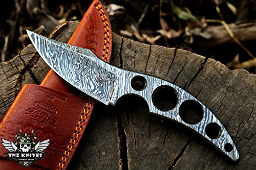 (TNZ-219 Damascus Knife 8.2″ Long 4″Blade 11oz Damascus steel Hunting knife Damascus Blank Blade Skinner Outdoor Knife With Leather Cover TNZ Hand Made Damascus knives)