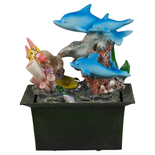 Waterfall Dolphin (EG Homewares Waterfall Water Fountain Calming Feng Shui Effect Indoor Table Desk Top Feature)