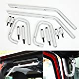 Highitem New Upgrade 2016 Version Aluminium Alloy Antiskid Hard Mount Front & Rear Grab Bar Handle for Jeep Wrangler JK 2 & 4 Door 2007-2016 (Silver)