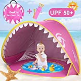 iGeeKid Baby Beach Tent, Shark Pop Up Portable Sun Shelter Tent with Pool UPF 50+ UV Protection & Waterproof Sun Beach Shade Baby Pool Tent for Toddler Infant Aged 0-3 (2-Pink)