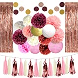 Dusty Pink Shower Curtain DXZN 33 PCS Rose Gold Party Decorations 2 Pack 8.2FT Long Foil Fringe Curtain Tissue Pom Poms Paper Lantern Paper Garland 9.8FT Long Tissue Tassel for Wedding Birthday Bridal Shower Valentine's Day