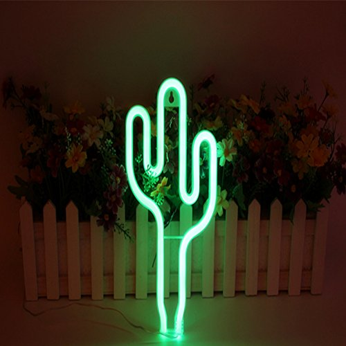 Neon Light,LED Cactus Sign Shaped Decor Light for Wedding Birthday Party Bedroom Table Gift Kids Toys Decor Decorations Valentines Christmas Gift( battery and USB 2 in 1) (Style 1) by QZC