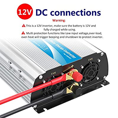 1200W Power Inverter DC12 Volt to AC 120 Volt with 20A Solar Charge Controller and Remote Control & USB Port for RV Truck Solar System: Automotive