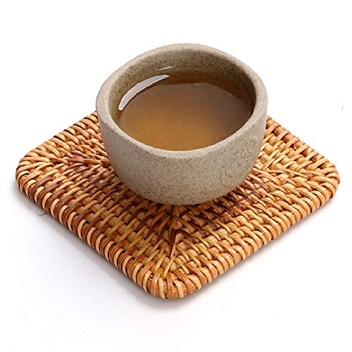 4Packs Handmade Square Rattan Coaster Drinks Cupmat Coffee Coasters-3.9inch