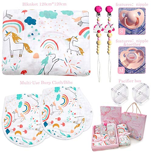 Unicorn Baby Gift Set | Unicorn Birthday Gifts for Girls Includes One Bamboo Cotton Swaddle Blanket, Two Bamboo Cotton Burp Cloths, Two Teething Pacifier Clips, Two Free Pacifiers and Gift Box & Bag. by WIDDLE LOVE