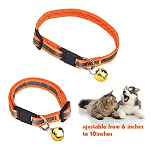 Mudder Adjustable Reflective Safe Pets Collar Breakaway Safety Cat Dog Puppy Kitten Collars with Bells, 4 Colors