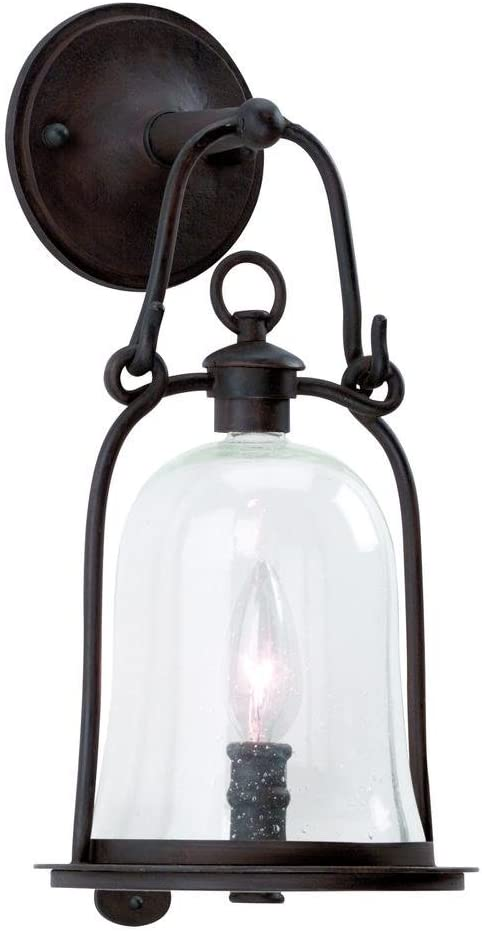 B000JZLTAQ Troy Lighting Owings Mill 1-Light Outdoor Wall Lantern - Natural Bronze Finish with Clear Seeded Glass 51E4qNRgCpL