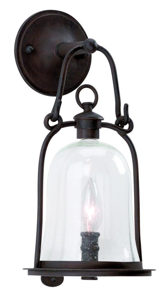 Troy Lighting Owings Mill 1-Light Outdoor Wall Lantern - Natural Bronze Finish with Clear Seeded Glass by Troy