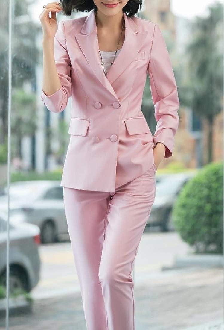 Andopa Women Regular Fit Office Double Breasted Blazer Jacket Pants Suit Set