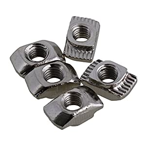 CNBTR Silver European Standard 20 Series Aluminum Slot Carbon Steel Half Round Roll In Sliding T Slot Nut with M4 Thread Pack of 50