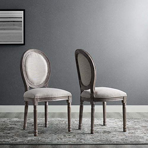 Modway Emanate French Vintage Upholstered Fabric Two Dining Side Chair