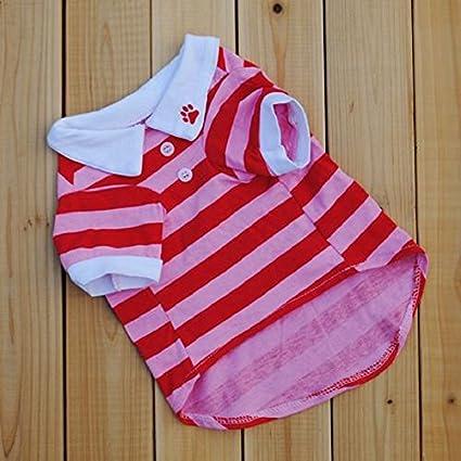 Rosso, S Culater/® Cane Carino Maglietta Dei Vestiti Banda Risvolto Vestiti Del Cane Di Cotone Cucciolo