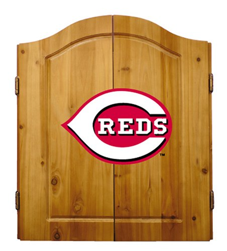 Imperial Officially Licensed MLB Dart Cabinet Set with Steel Tip Bristle Dartboard and Darts, Cincinnati Reds
