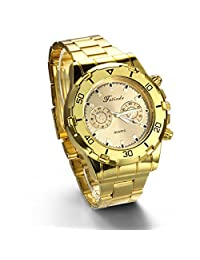 JewelryWe Newest Luxury Fashion Men Wrist Watch Gold Tone Stainless Steel Band Men's Sport Watch