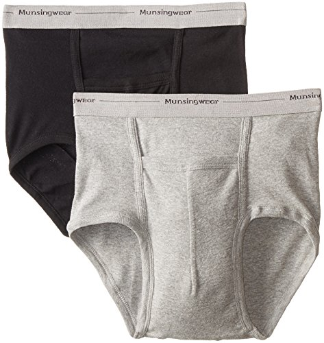 Munsingwear Men's 2-Pack Full-Rise Pouch Brief, Black/Grey Heather, X-Large