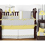 Sweet-Jojo-Designs-Fitted-Crib-Sheet-for-Yellow-and-Gray-Chevron-Zig-Zag-BabyToddler-Bedding-Yellow