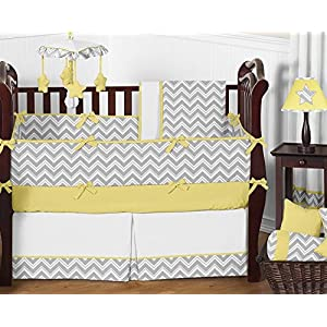 Sweet Jojo Designs Fitted Crib Sheet for Yellow and Gray Chevron Zig Zag Baby/Toddler Bedding – Yellow