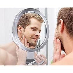 Teletrogy Bathroom Mirror No Fog Shave Mirror Fogless Shaving Mirror Strong Suction Mirror with Razor Hook, Anti Fog Mirror for Makeup, Silver