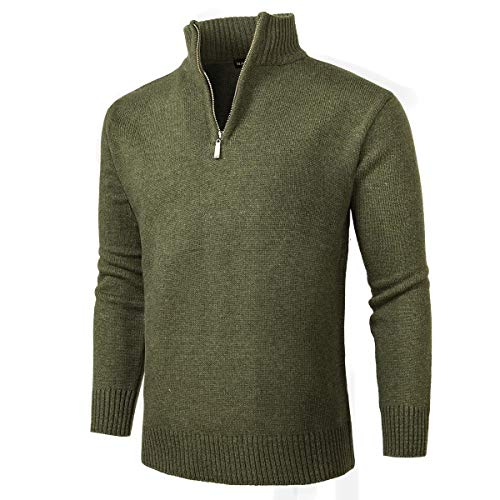 NALANION Mens Casual Wool Blend Pullover Sweaters 1/4 Zip Collar Knitted Sweater (Green, L)