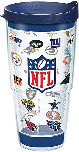 Tervis 1281651 NFL Team Logos Tumbler with Wrap and Navy Lid 24oz, Clear