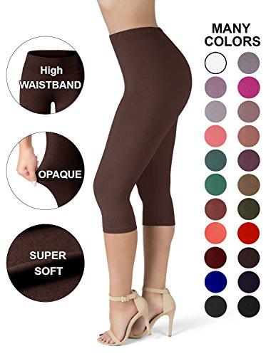 SATINA High Waisted Ultra Soft Capris Leggings - 20 Colors - Reg & Plus Size (Plus Size, Brown) Brown Capri Pant