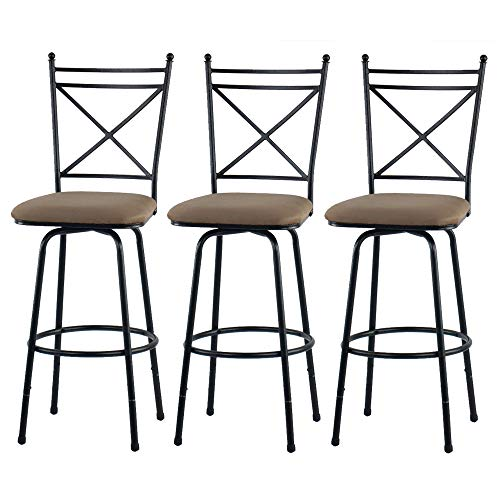 (Elegant Style 3-Piece Adjustable Height Barstool in Antique Brass Frame Finish/Beige Seat Cushions + Free Furniture Dust Cloth)