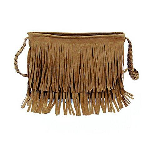 VWH Women's Shoulder Bag Vintage Tassel Handle Bag camel