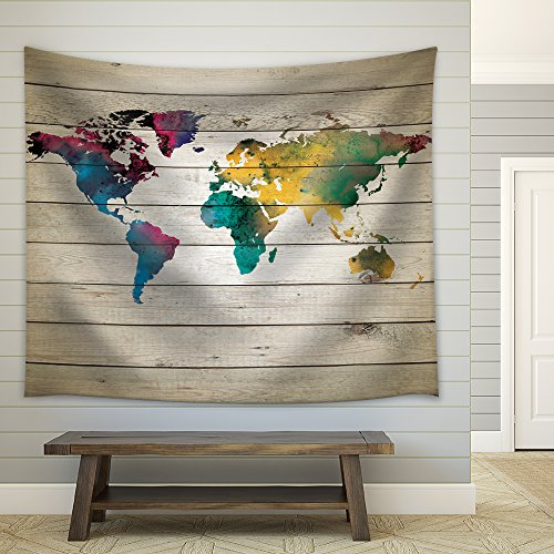 Multi Water Colored Map of The World on a Wooden Panel Background