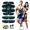 APZOVO Muscle Toner Portable Adhesive Electrodes Rechargeable, EMS Muscle Trainer Abdominal Toning Belt with LCD Display, 6 Modes 9 Levels of Intensity, Portable Fitness Device for Men Women