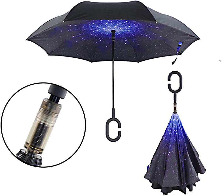 2Packs C-Handle Double Layer Umbrella Windproof Folding  Upside Down Reverse ss