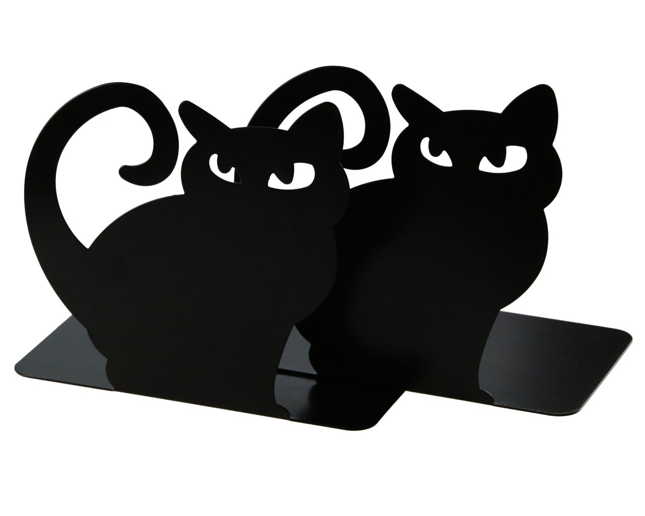 Cute Vivid Lovely Persian Cat Book Organizer Metal Bookends For Kids School Library Desk Study Home Office Decoration Gift (Black) by Apol (Image #2)