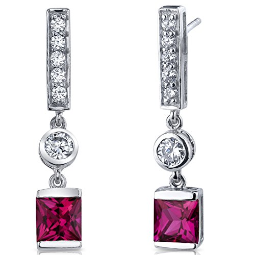 Created Ruby Princess Cut Dangle Earrings Sterling Silver Rhodium Nickel Finish 3.00 Carats (Cut Princess Ruby)