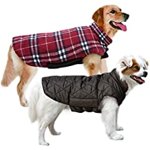 MIGOHI Dog Jackets for Winter Windproof Waterproof Reversible Dog Coat for Cold Weather British Style Plaid Warm Dog Vest for Small Medium Large Dogs, Red, Large
