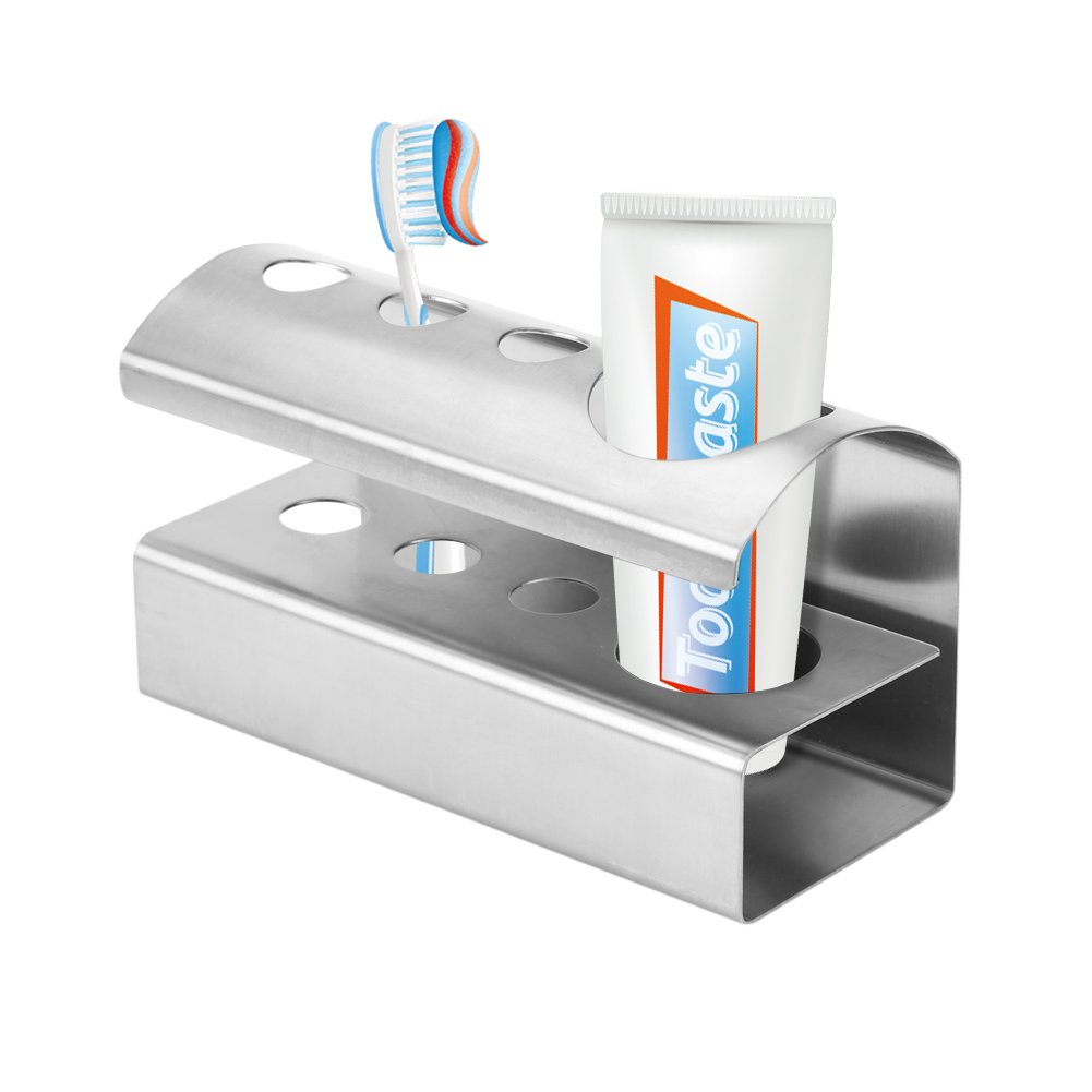 Fdit Portacepillos de dientes Soporte de Cepillo de Dientes de Posición de Acero Inoxidable 4 Soporte de Organizador de Cuchilla de Afeitar Para Cuarto de Baño Redondo Socialme-eu