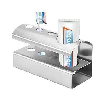 Fdit Portacepillos de Dientes Soporte de Cepillo de Dientes de Posición de Acero Inoxidable 4 Soporte de Organizador de Cuchilla de Afeitar para ...
