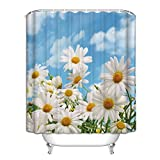 Floral Shower Curtain Set with Hooks,Country Wild Spring Daisy Flower Bathroom Decor, Polyester Fabric Extra Long 72(w) x84(h) inch